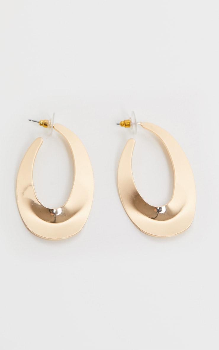Gold Oval Medium Hoop Earrings 1