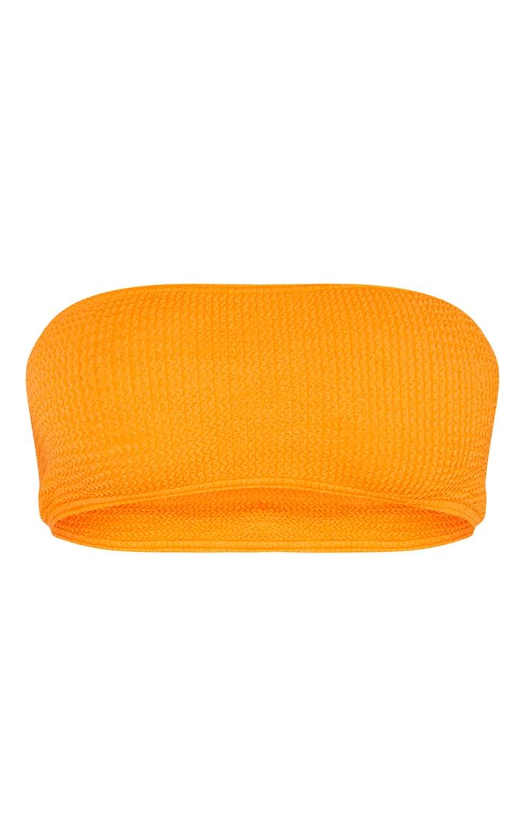 Orange Crinkle Bandeau Strapless Bikini Top 3