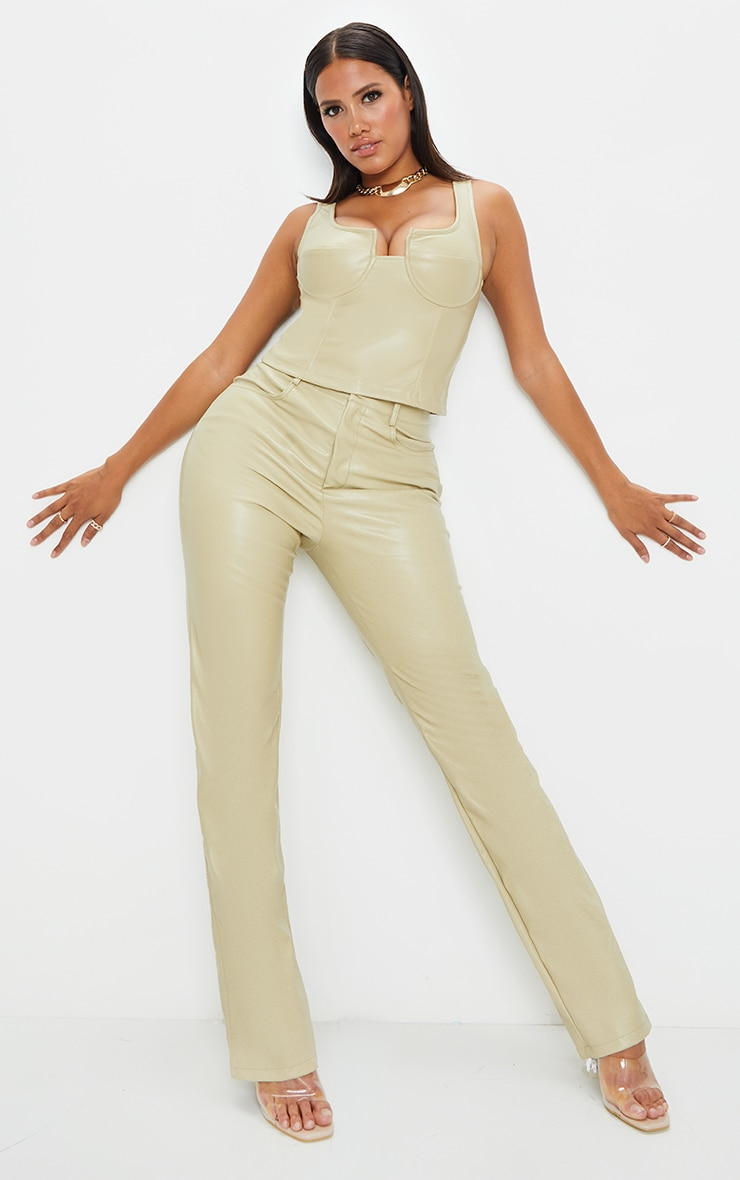 Shape Sage Khaki PU Straight Leg Trousers 1