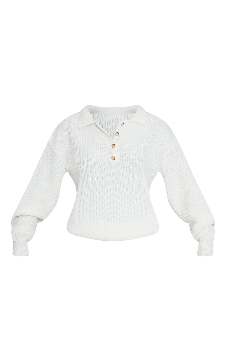 Cream Collared Button Up Slouchy Sweater 5