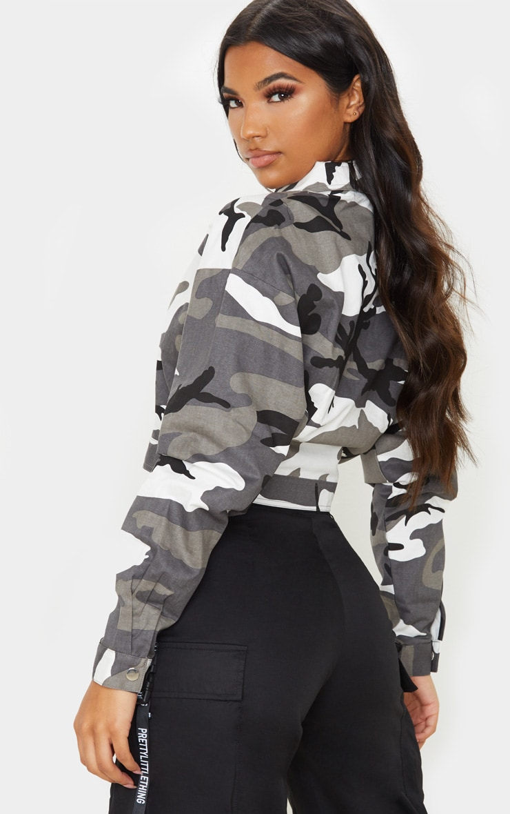 Grey Cropped Camo Trucker Jacket 2