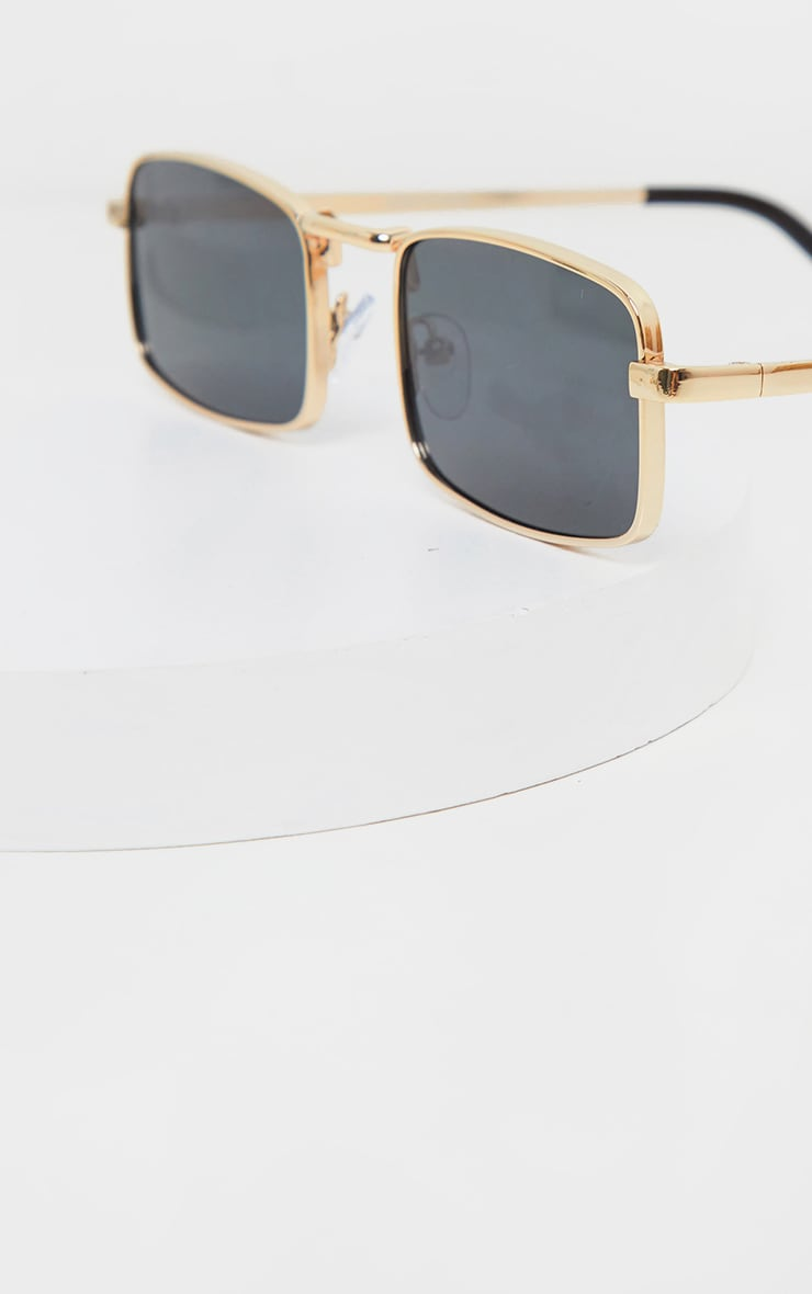 Gold Frame Black Lens Small Square Sunglasses 2