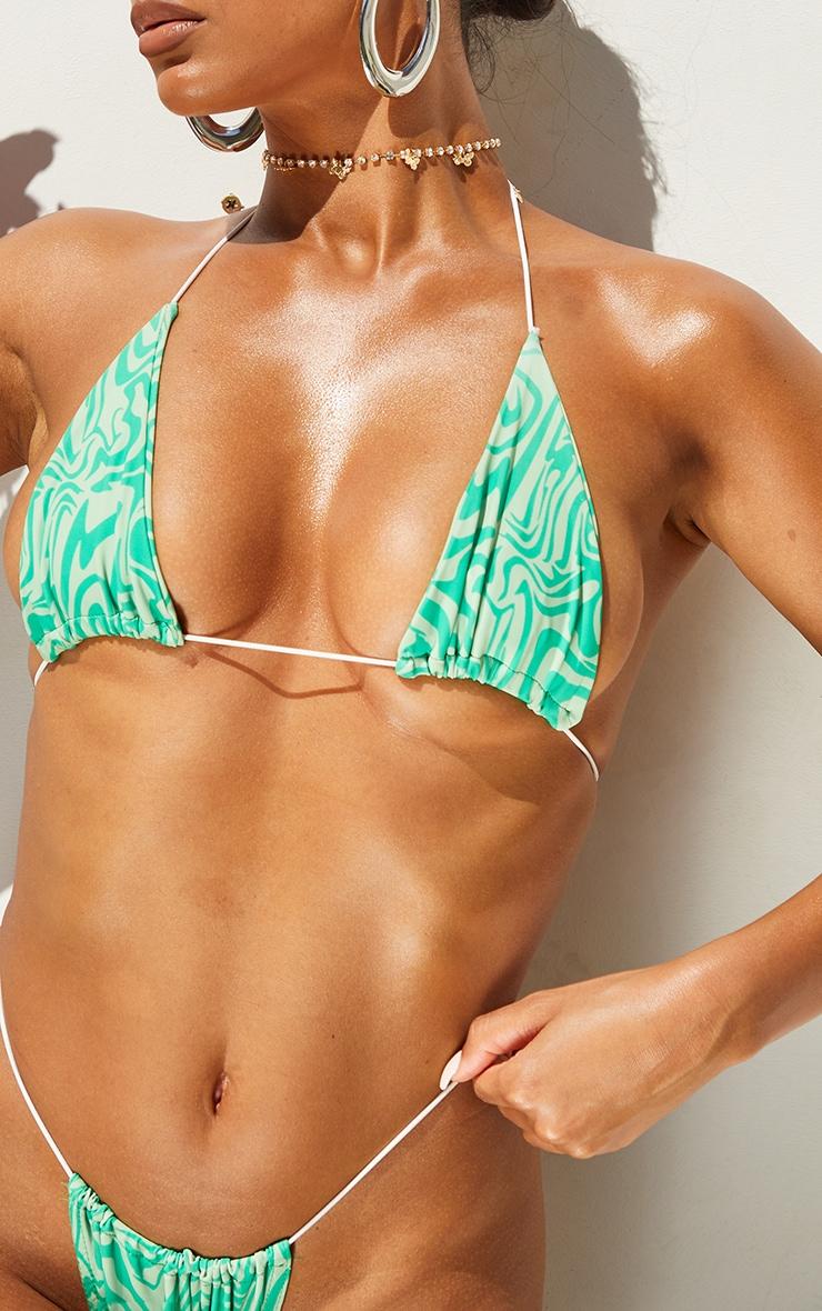 Green Swirl Print Triangle Bikini Top 4