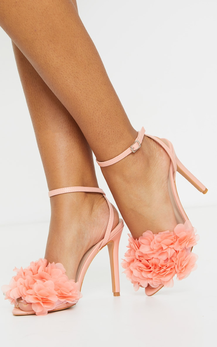 Peach Flower Embellished Strappy Heeled Sandals 1