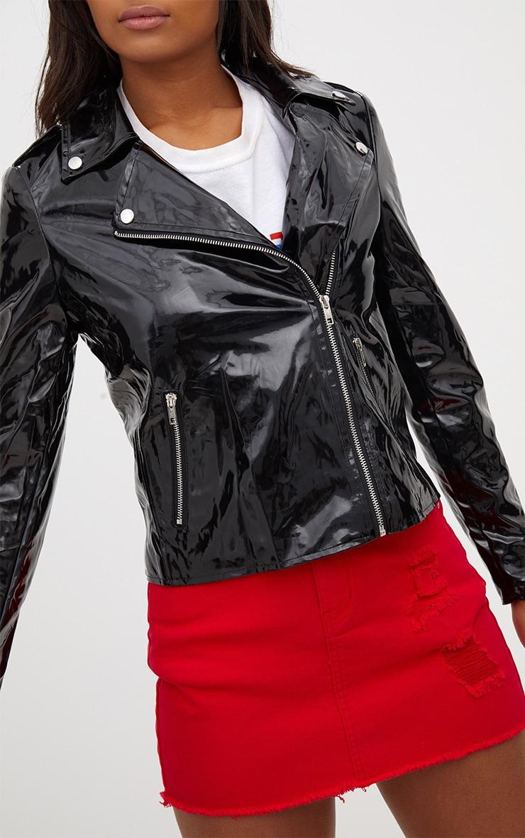 Black Vinyl Biker Jacket 5