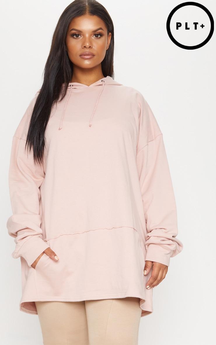 Plus Dusty Pink Oversized Hoodie 1