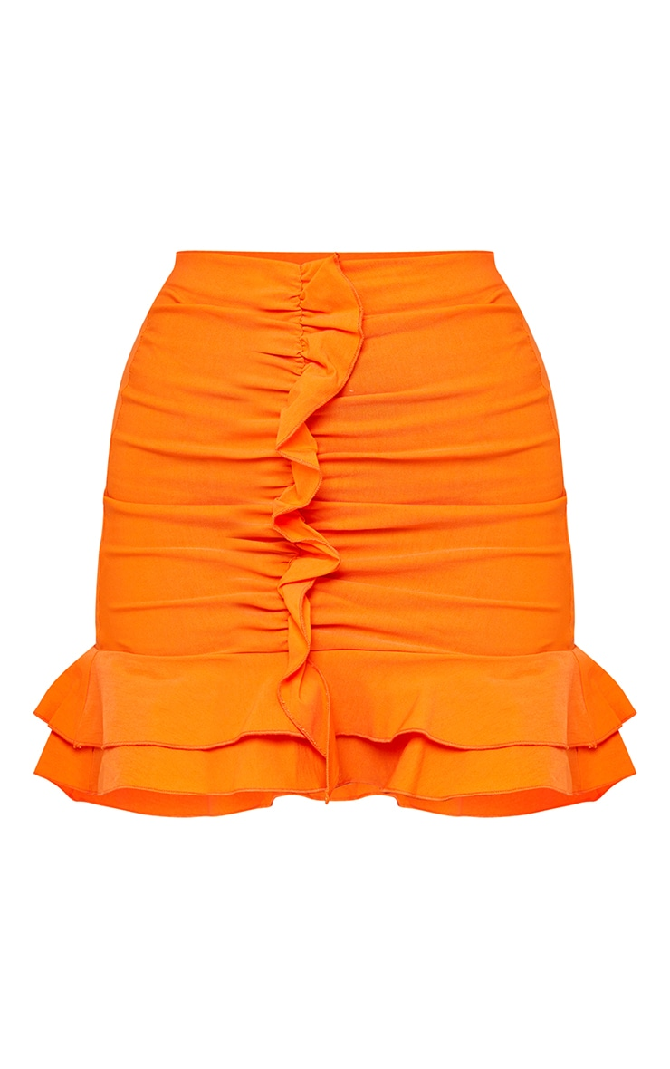 Orange Woven Stretch Frill Ruched Front Mini Skirt 6