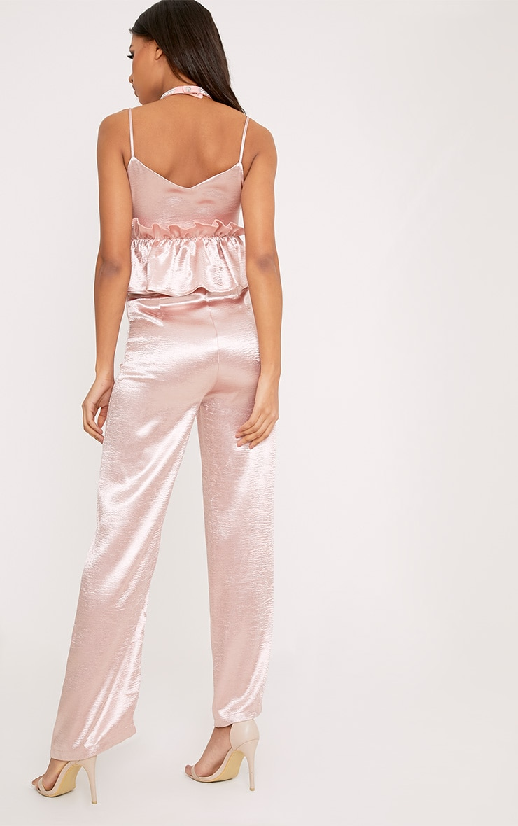 Abi Pink Hammered Satin Frill Middle Jumpsuit 3
