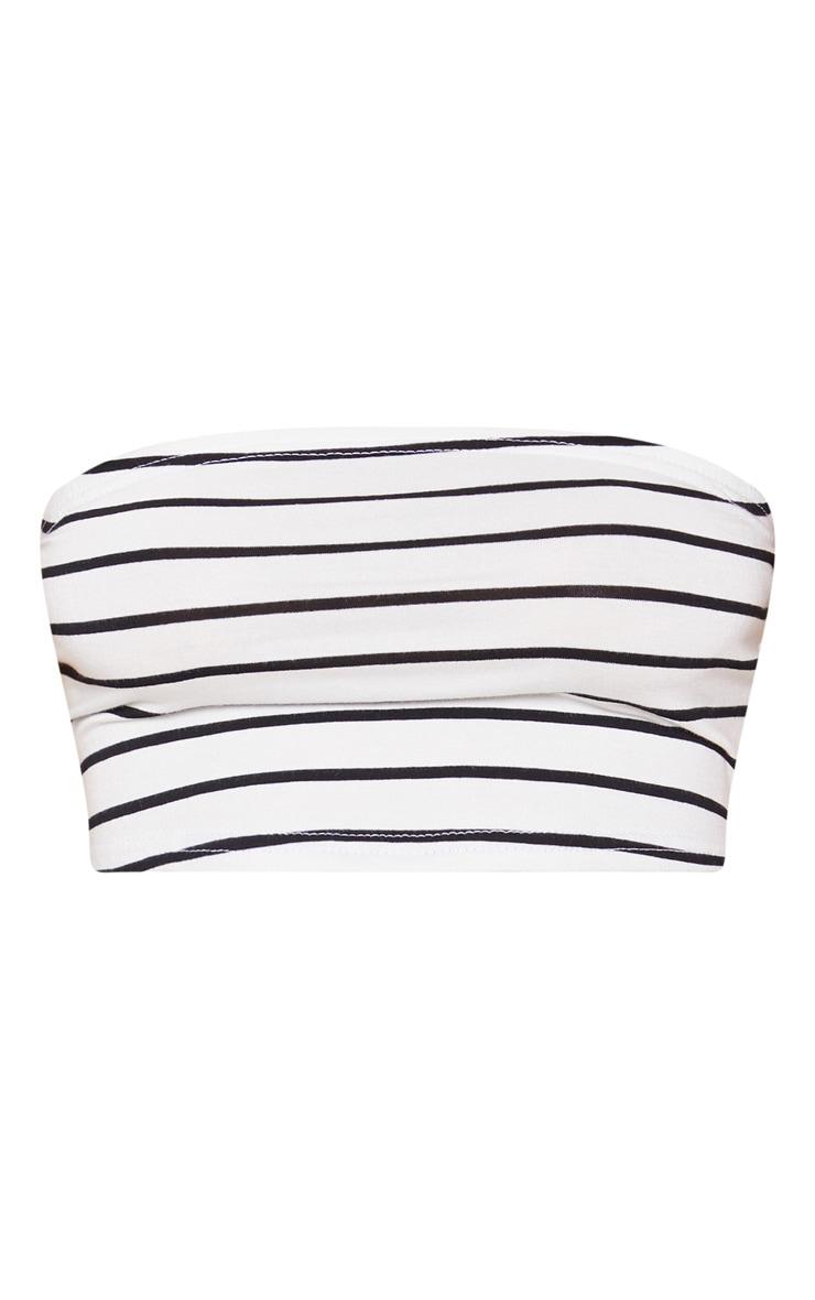 Black Stripe Printed Bandeau Crop Top 3