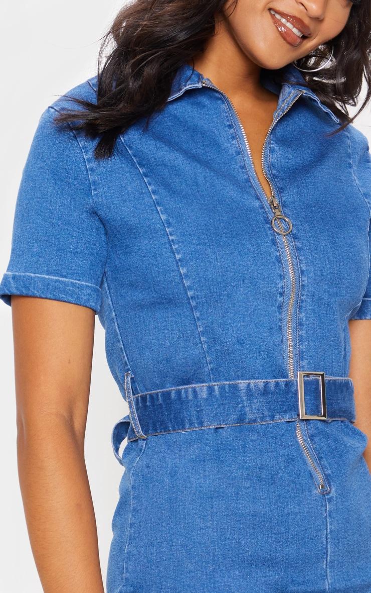 Mid Wash Zip Front Belted Denim Dress 5