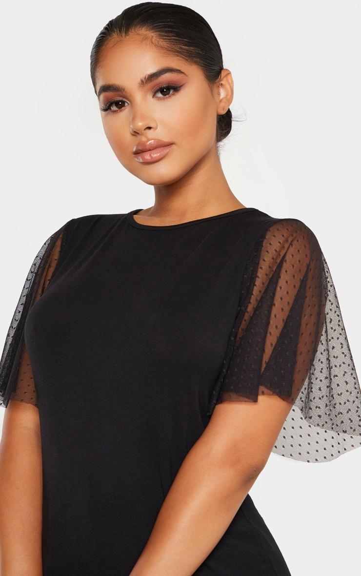 Petite - Tee-shirt noir en mesh à pois à manches courtes 5