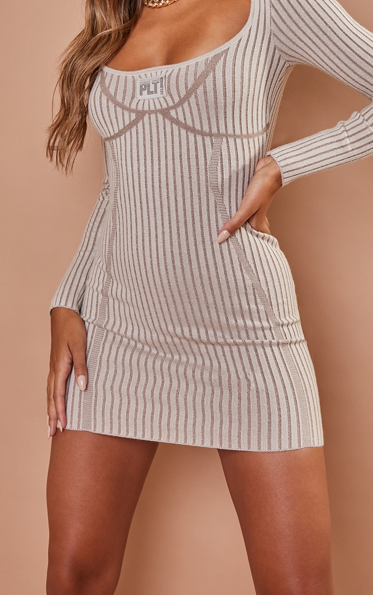 PRETTYLITTLETHING Stone Bust Detail Bodycon Knitted Dress 4