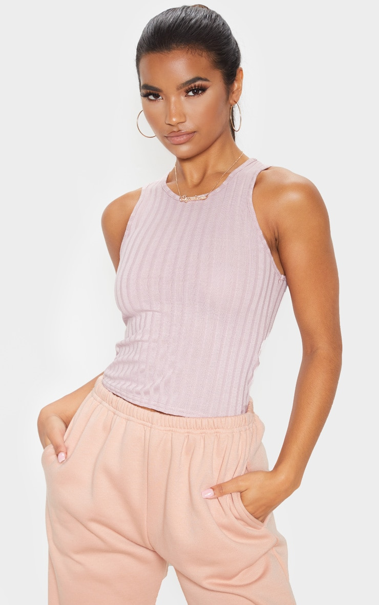 Dusty Lilac Ribbed Racerback Vest 1