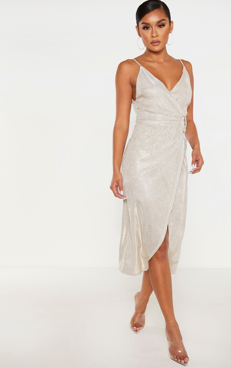Silver Glitter Ring Detail Wrap Midi Dress 1
