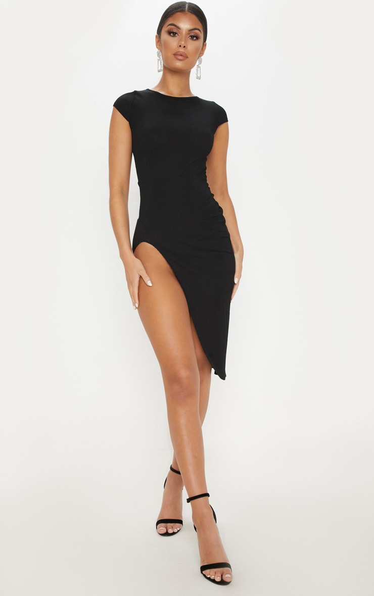 Ribbed Black Extreme Split Cap Sleeve Midi Dress