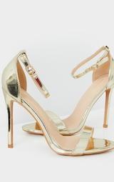 Gold Wide Fit Clover Single Strap Heeled Sandal 3