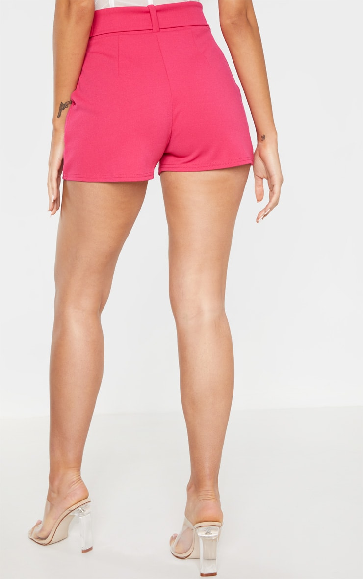 Bright Pink Belted Tailored Short 3