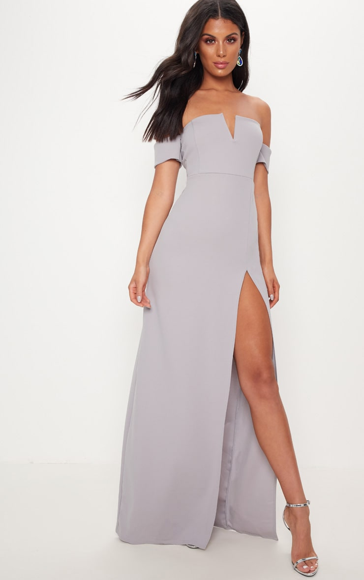 Ice Grey Bardot V Bar Extreme Split Maxi Dress