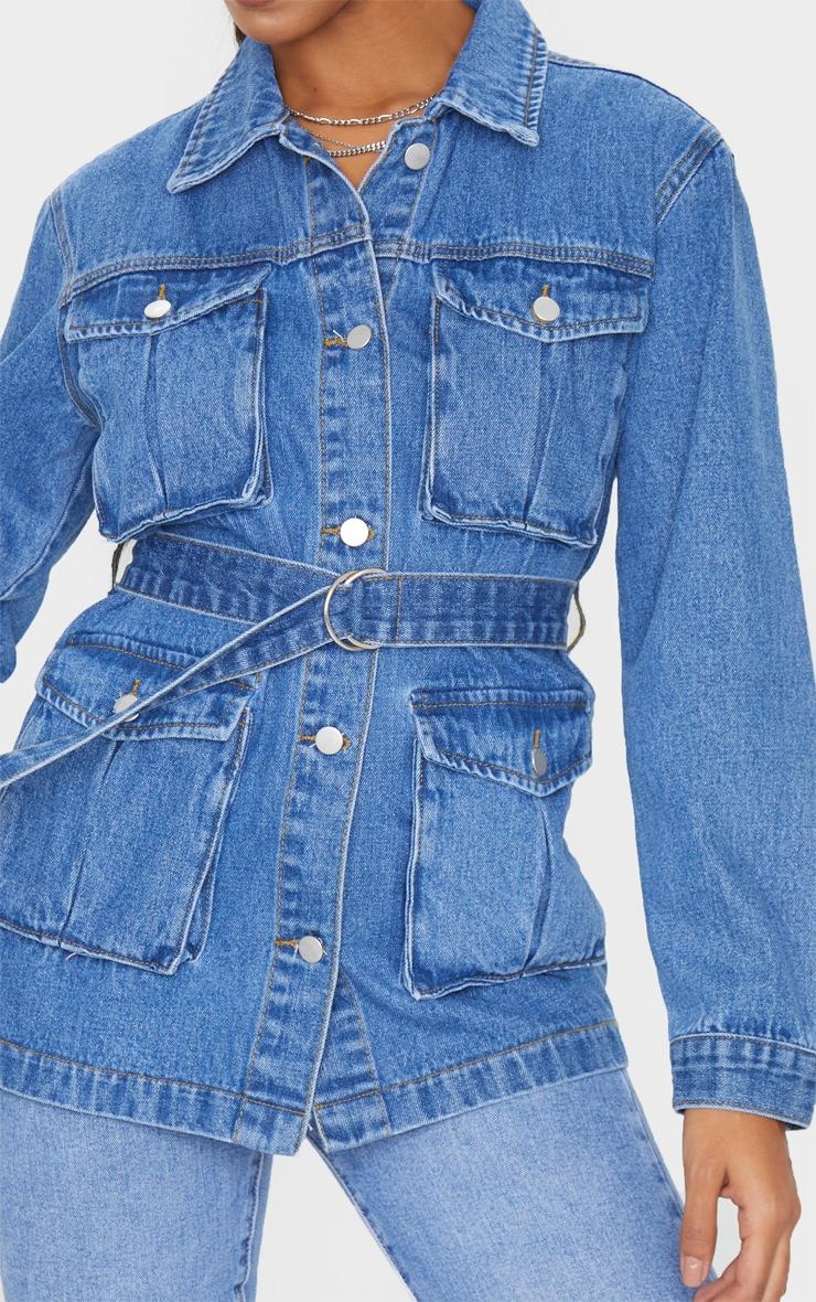 Mid Blue Wash Belted Cargo Denim Jacket 4