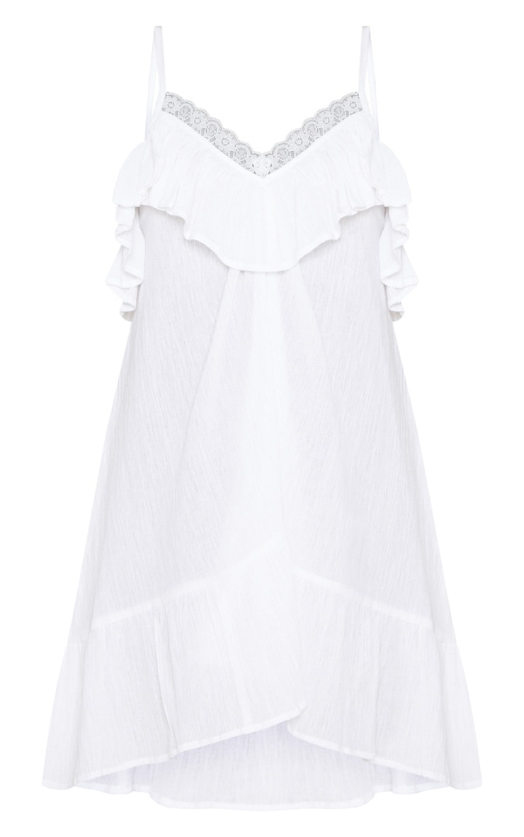 White Lace Trim Cheesecloth Smock Dress 3