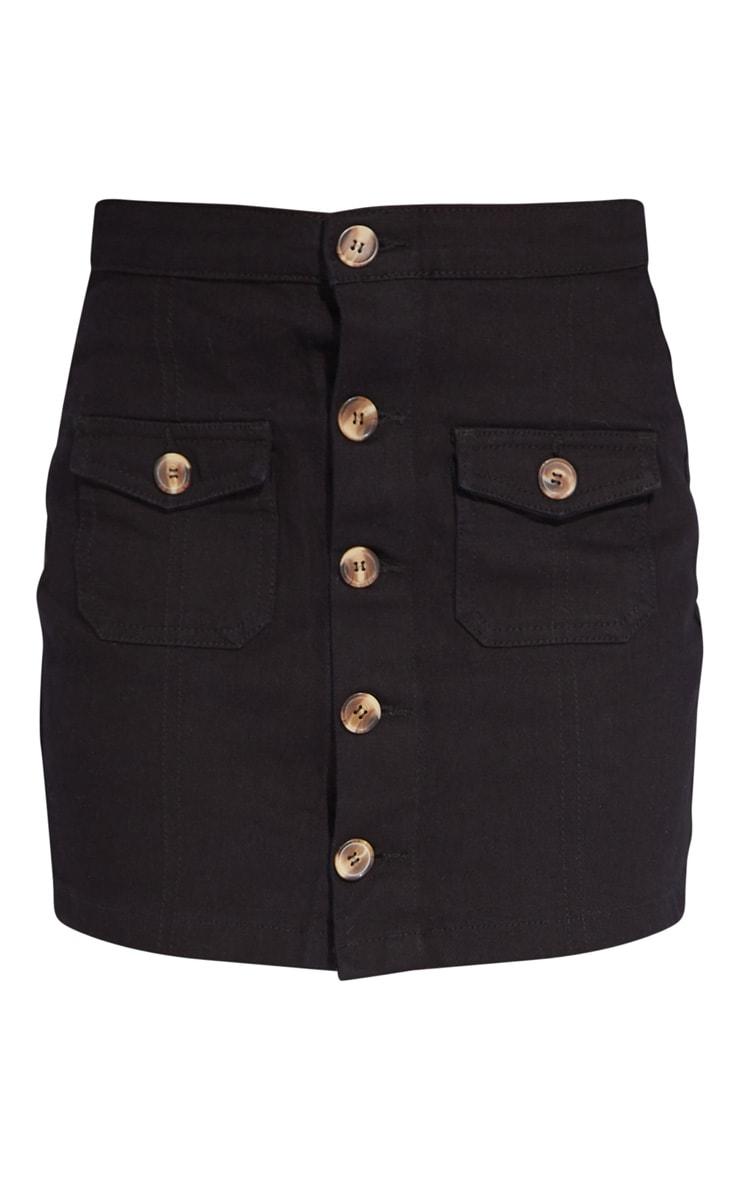Petite Black Button Front Denim Mini Skirt 6