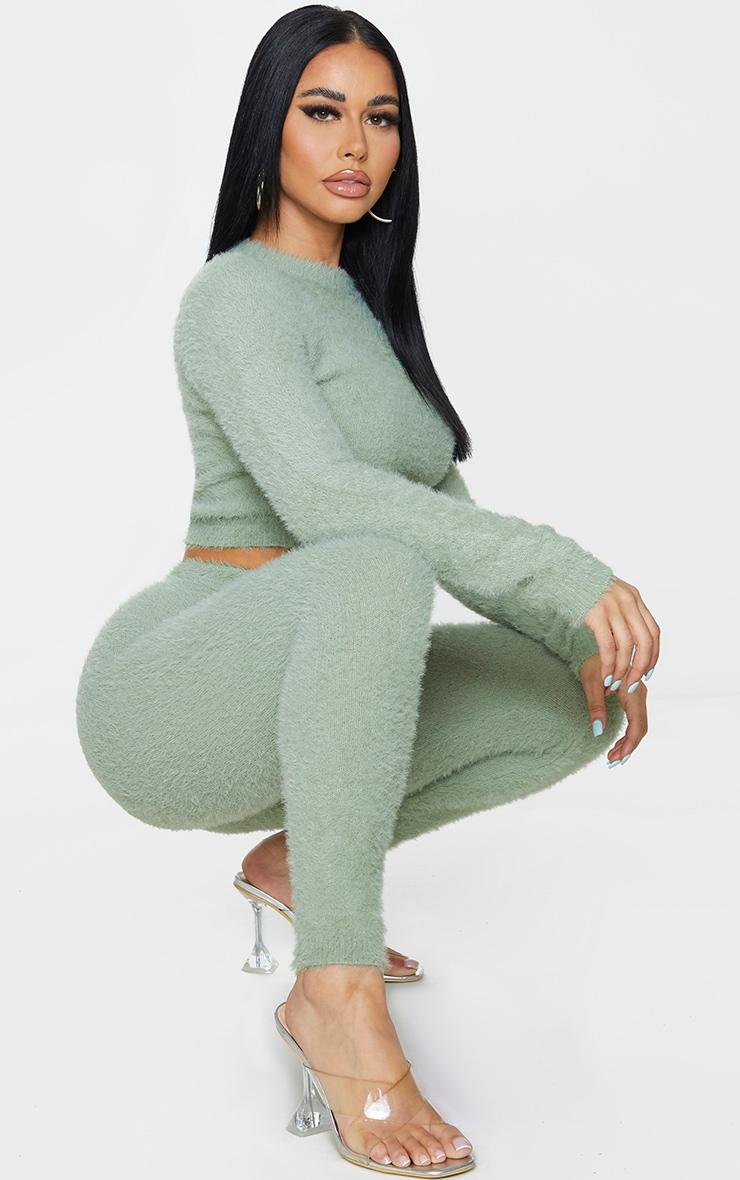 Shape Sage Green Fluffy Knit Leggings