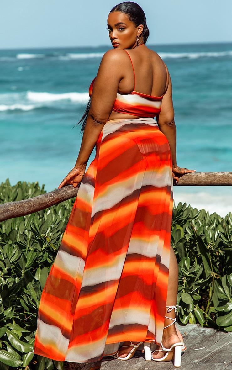 Plus Orange Ombre Double Split Beach Maxi Skirt 2