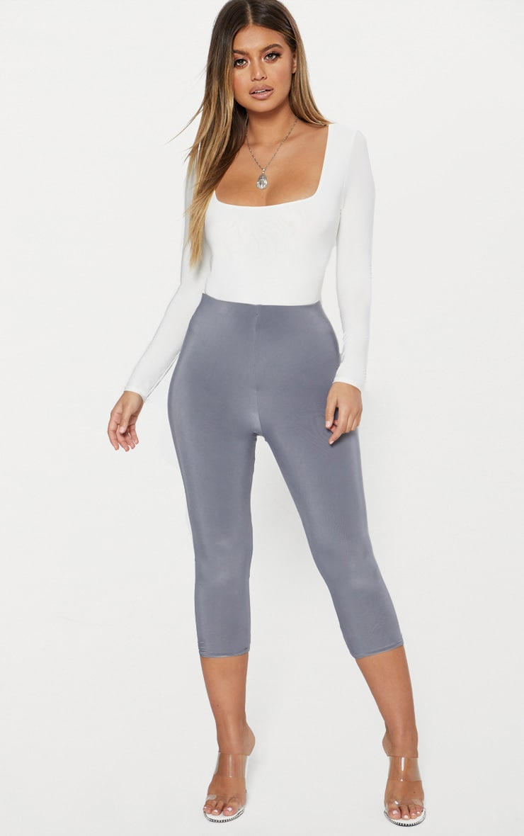 Grey Slinky Cropped Legging