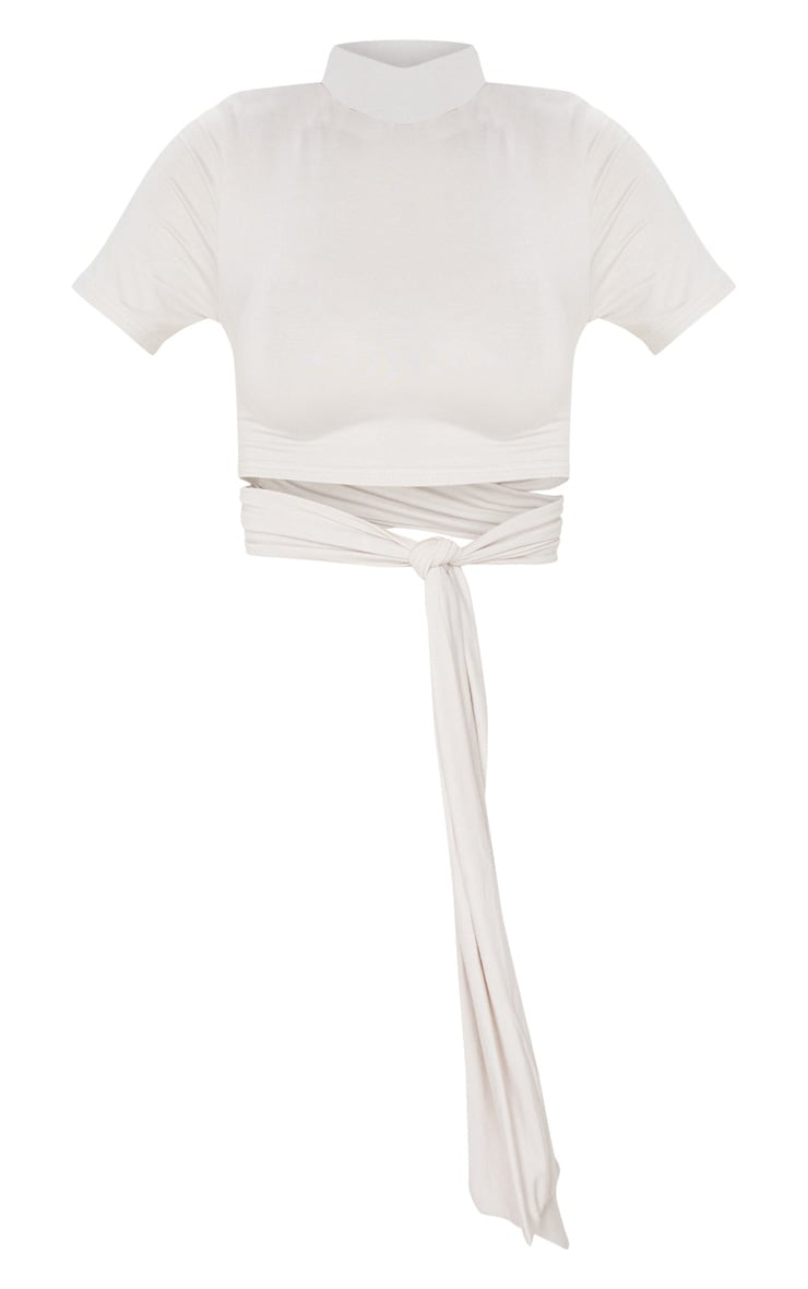 Sand Tie High Neck Crop T Shirt 3