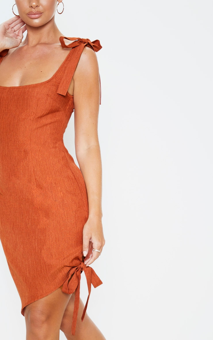 Rust Woven Tie Shoulder Asymmetric Hem Midi Dress 5