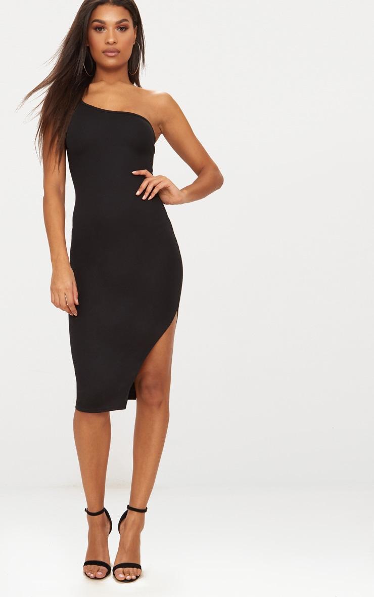 Black One Shoulder Midi Dress 4