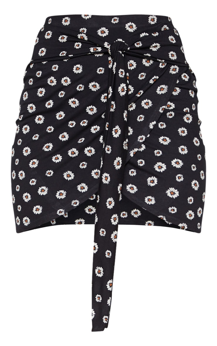 Black Daisy Print Jersey Tie Side Split Mini Skirt  3
