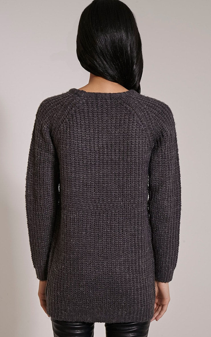 Emily Grey Buckle Detail Knitted Jumper 2