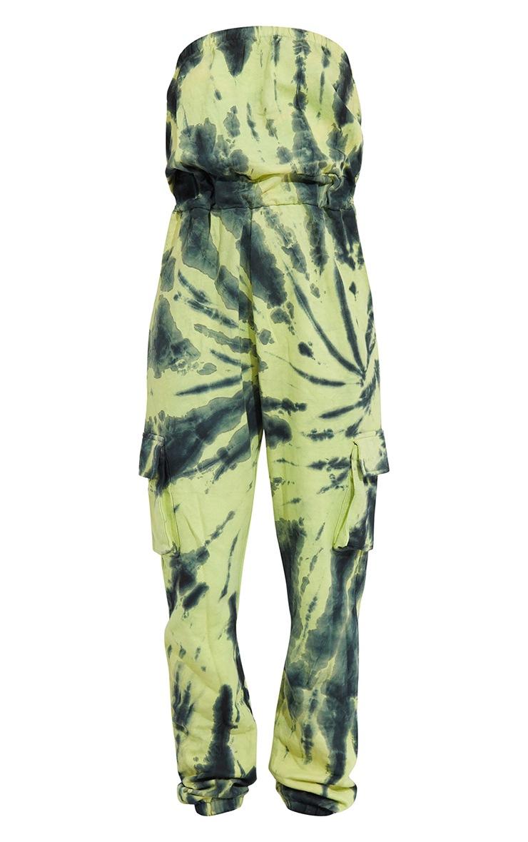 Green Tie Dye Bandeau Pocket Detail Sweat Jumpsuit 5
