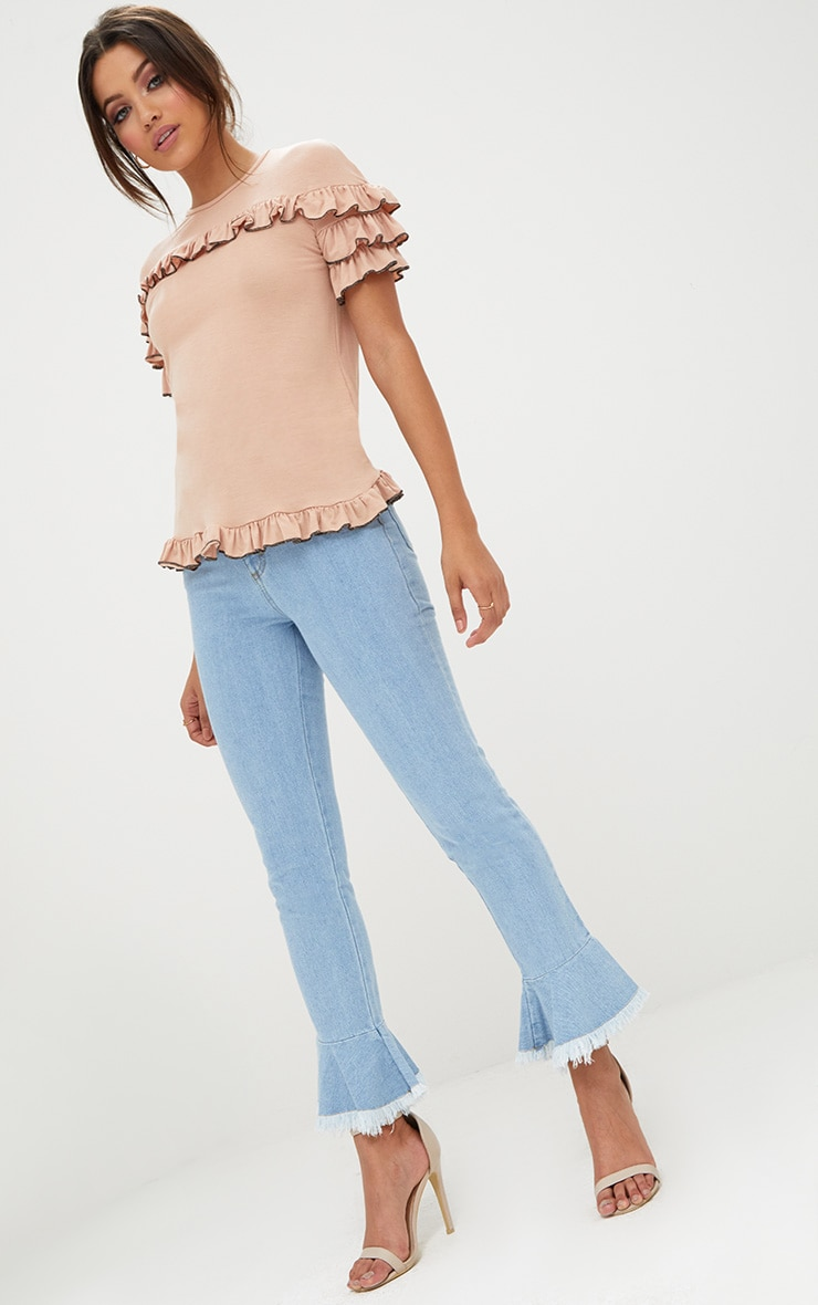 Nude Frill Contrast Edge T Shirt 4