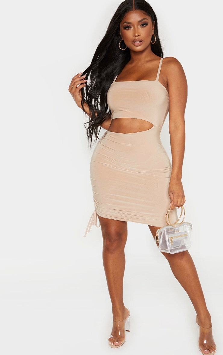 Shape Stone Slinky Cut Out Side Ruched Bodycon Dress 4