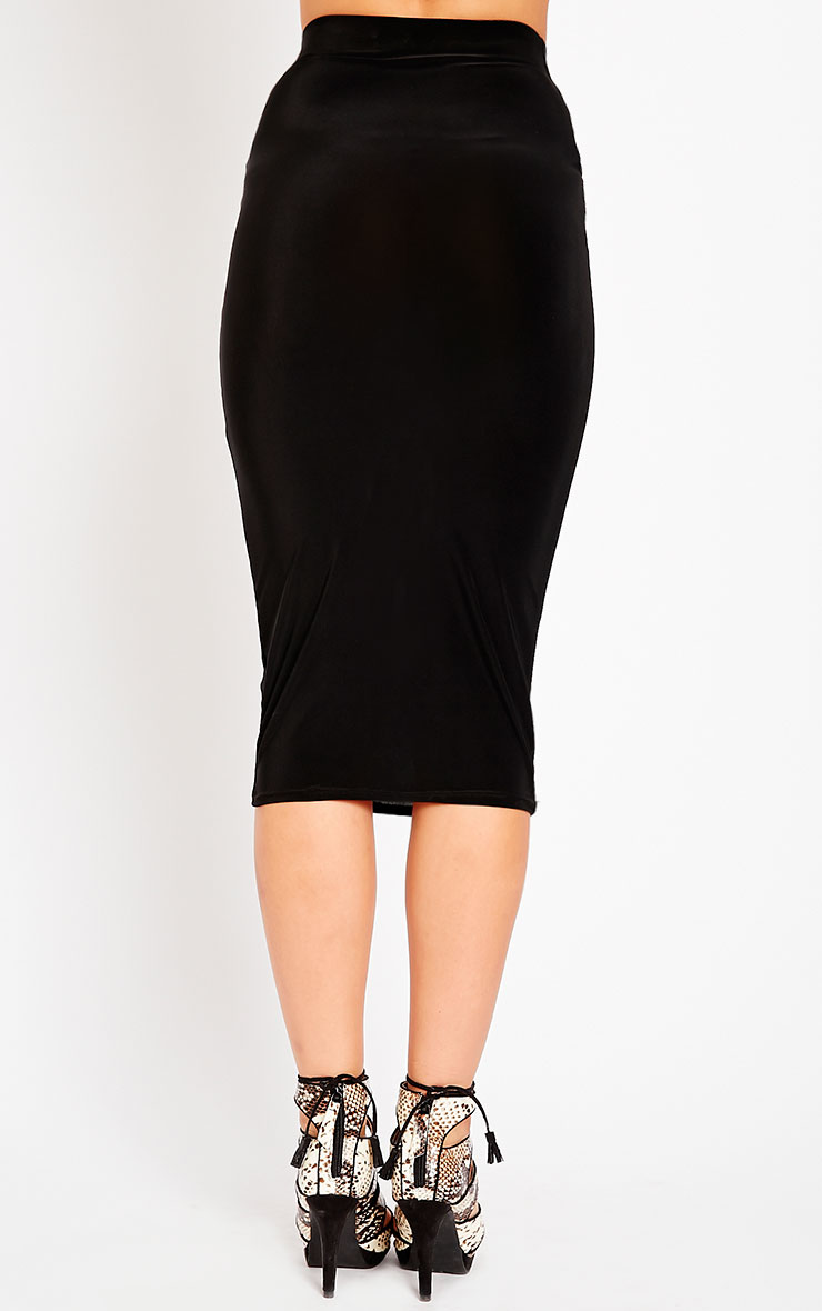 Ava Black Slinky Midi Skirt 4