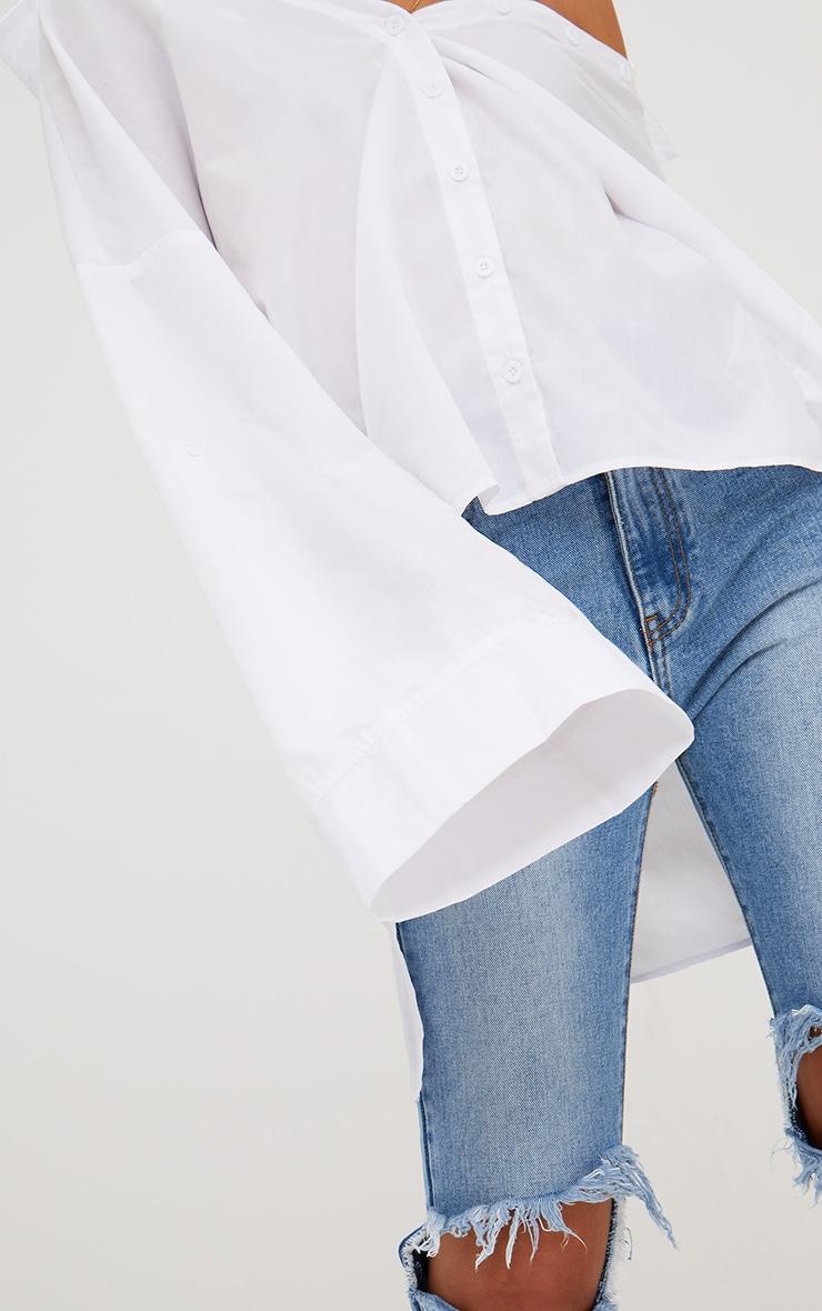 White Oversized Off Shoulder Shirt 5