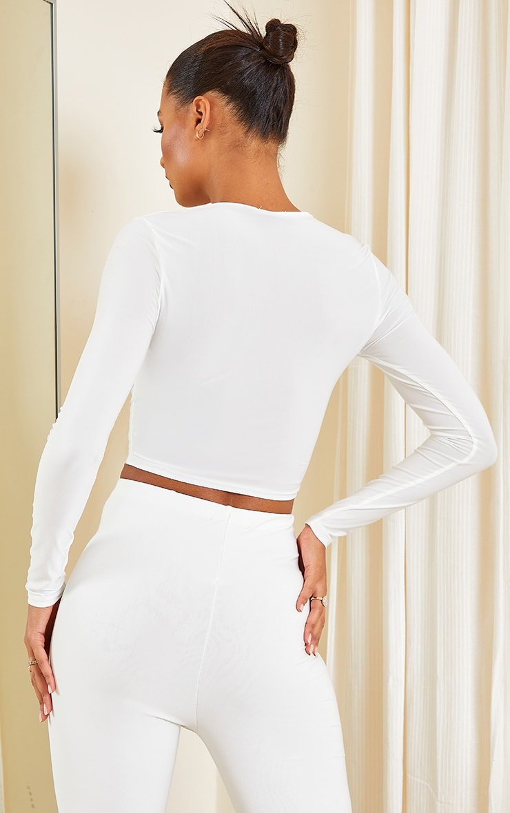 White Slinky Long Sleeve Ruched Tie Front Crop Top 2