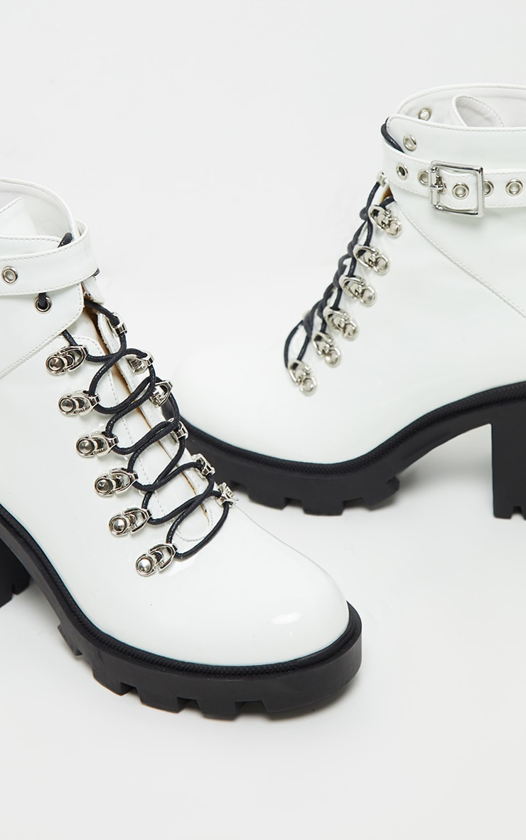 White Lace Up Heeled Hiker Boot 4