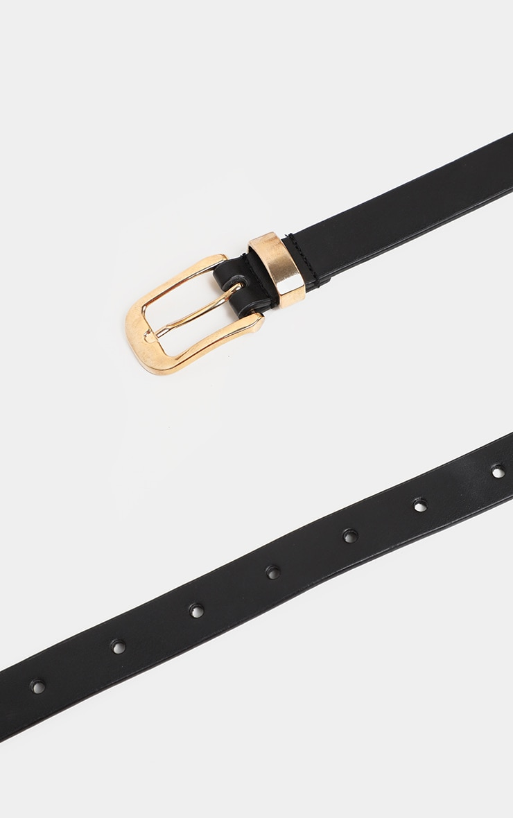 Black Ring And Chain Metal Buckle Waist Belt 4