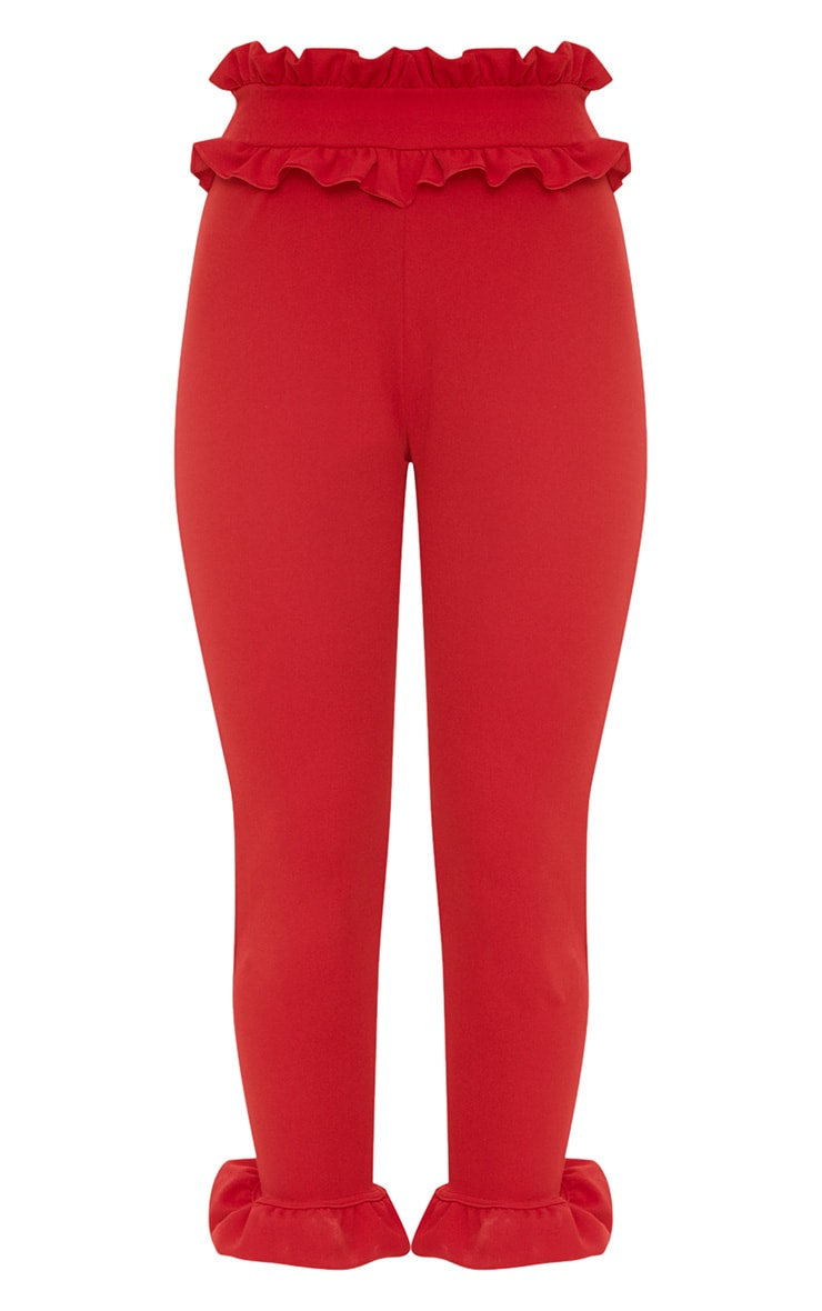 Red Frill Trim Trousers 3