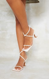 White Pu Flare Low Heel Extreme Square Toe Sandals 2