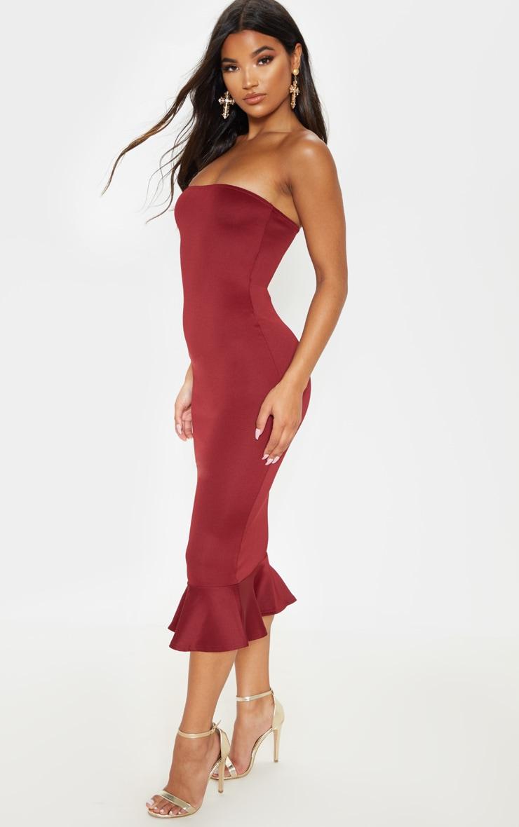 Isabella Burgundy Bandeau Frill Hem Midaxi Dress 4