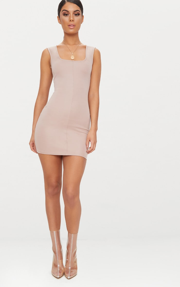 Taupe Square Neck Panelled Bodycon Dress 4