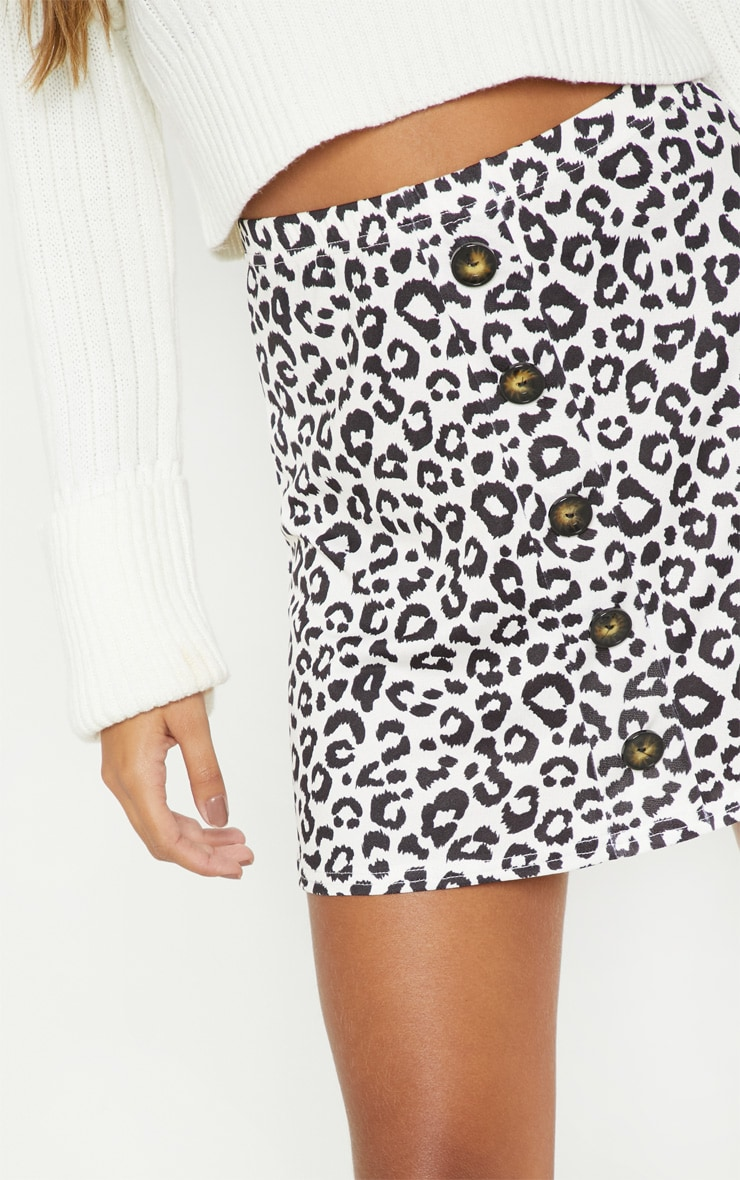 Leopard Print Printed Button Front A Line Skirt 6