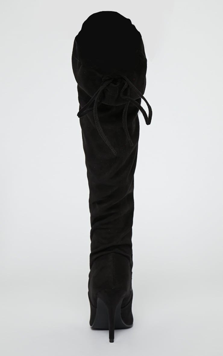Ayanna Black Suedette Over The Knee Heeled Boots 6