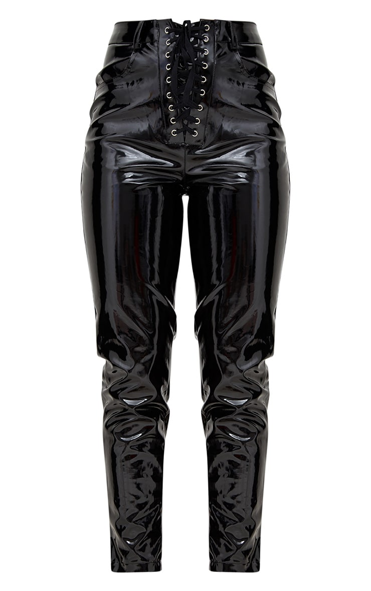 Black Vinyl Eyelet Lace Up Trousers 3