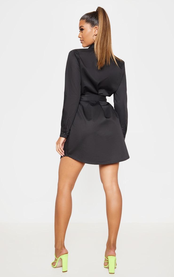 Black Pleated Woven Shirt Dress 2