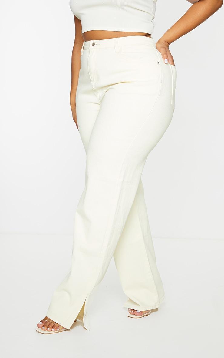 Plus Ecru Split Hem Jeans 2